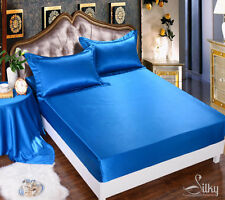 1 PC 19M/M SILK CHARMEUSE  FITTED SHEET SINGLE/DOUBLE/QUEEN/KING 2 COLORS