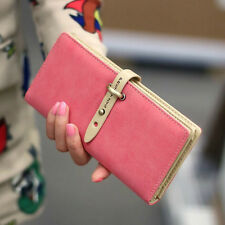 Fashion 5 Cute Colors Women Frosted Clutch Long Leather Case Card Purse Wallet