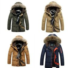 men's down jacket large fur collar hooded winter warm overcoat parka outwears Sz
