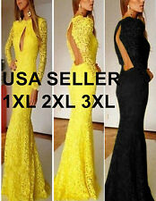 Yellow Sexy Women Long Sleeve Lace Prom Ball Cocktail Party Dress Evening Gown