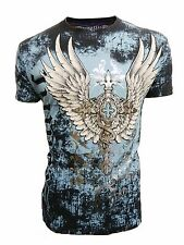 Konflic Men's Legend of Cross Wings with Silver Foil MMA Muscle Graphic T-shirt