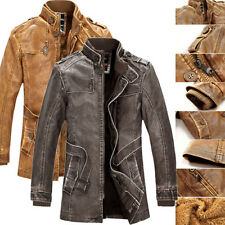 FOR COLD WINTER Men PU LEATHER Jacket Long Bomber Parka Motorcycle Coat Top Wear