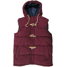 BRAVE SOUL GILET HUNTER MENS QUILTED PADDED HOODED BURGUNDY TOGGLE JACKET UK S