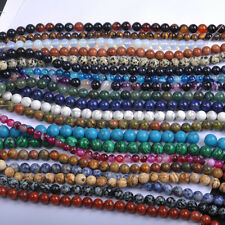FREE SHIP Natural Gemstone Round Charms Spacer Loose Beads 4MM 6MM 8MM 10MM 12MM