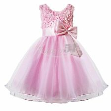 CHRISTMAS 3D ROSE FLOWER GIRL KID DRESS WEDDING BRIDESMAID PAGEANT PARTY DRESSES