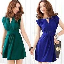 Women's Elegant Sexy V Neck Slim Evening Party Cocktail Mini Dress EVHG