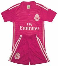 RONALDO #7 Real Madrid Pink Away Kids Soccer Jersey & Shorts All Youth Sizes