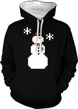 8-bit Snowman Pixels Winter Christmas Seasons Greetings 2-tone Hoodie Pullover