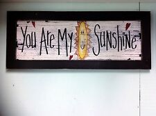 You are my Sunshine sign framed art print child room decor inspirational painted