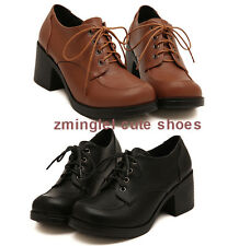 Japanese School Student Uniform Shoes Uwabaki JK Lacing Mid Heels Cosplay Shoes