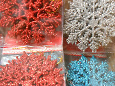 6/pack Glitter Snowflake Christmas Tree Ornament Decoration Sparkle  NEW 12cm