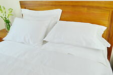 Double Bed Sheet Set 500TC/10cm2 Pure Cotton Fitted Flat Pcs White/Cream
