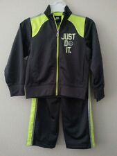 "NIKE Kids Set, Boys Dk Gray Neon ""JUST DO IT"" Tricot Jacket & Pants Size 4 5 NWT"