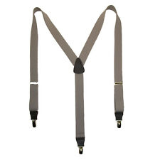 New CTM Mens Elastic Clip-End 1 1/4 Inch Premium Solid Suspenders (Tall Availabl
