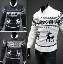 Men's Vintage Novelty Jumper Sweater Christmas Xmas Rudolph Winter Fairisle HGUS