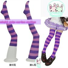 Cute Lolita Pink&Purple Stripe Over-knee Stocking Thigh High Stocking Size S&L
