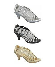 Angel-76 Kitten Low Heel Rhinestone Open Front Wedding Evening Party Shoe Sandal