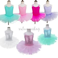 Girls Kids Ballet Dance Leotard With Skirt Dress Dance Wear Costume Age 2-14Yrs