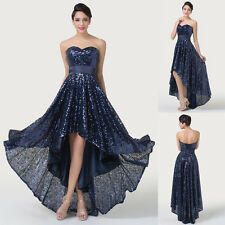 FREE SHIP~ Mother of the bride SEQUINS High Low Prom Party Gown Evening Dresses