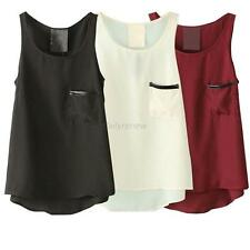 Girls  Chiffon Vest Singlet T-Shirt Pocket Top Cami  Sleeveless Black Red White