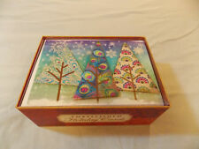Assortment Punch Studio Peacock Themed Embellished Christmas Cards 12 per box