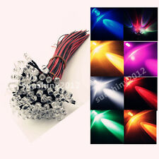 50-500pcs 5mm Pre Wired LED Lamp Emitting Diode RGB UV Flash Brake Light DC12V