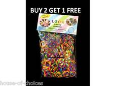 600 COLOURFUL TIE & DYE BLUE RAINBOW RUBBER LOOM BANDS BRACELET MAKING DIY KIT
