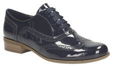 Clarks Womens Hamble Oak Navy Patent Casual Lace Up Shoe