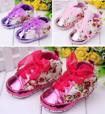 Newborn 0-18M Baby Girls Infant Rose Floral Soft Sole Crib Cotton Toddler Shoes