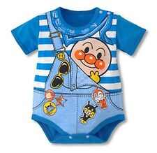 CK17 - New Anpanman Blue Stripes Baby Toddlers Cotton One Pieces Size 80-95