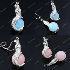 1x Mermaid Opal Rose Quartz Gemstone Chakra Reiki Healing Pendant For Necklace