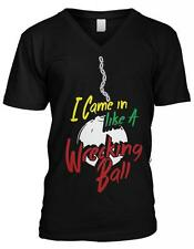 I Came In Like A Wrecking Ball Miley Funny Cyrus Parody Mens V-neck T-shirt