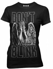 Doctor Who Don't Blink Weeping Angel Juniors Black T-shirt Tee Womens Dr Tardis