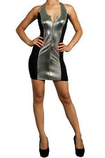 Dress Sexy Club Silver Metallic Sequin Look Twisted Straps Zipper Front Mini S
