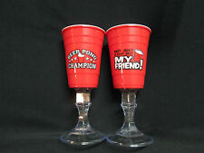 REDNECK RED SOLO CUP~WINE GLASS~14 0Z~PLASTIC~BEER PONG CHAMPION OR MY FRIEND