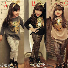 Kids Girls Toddlers Leopard Long Sleeve Shirt Suits Clothes Set