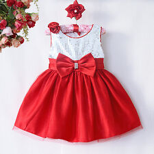 Red occasion Flower Girl, Baby, Christmas Party Wedding age 0-18 M Quick UK POST