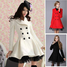 Hot Sell Women Double Breasted Trench Winter Coat Lady Peacoat Long Dress Jacket