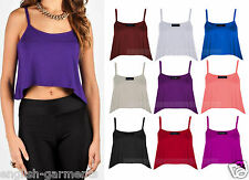 Womens Swing Crop Top Ladies Strappy Cami Vest Top Active Casual Sport Tank Top