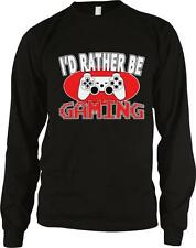 I'd Rather Be Gaming Pixelated Nerd Geek Video Gamer Long Sleeve Thermal