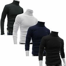 MENS COTTON ROLL TURTLE POLO FUNNEL NECK TOP BASELAYER SHIRT STRETCH GOLF
