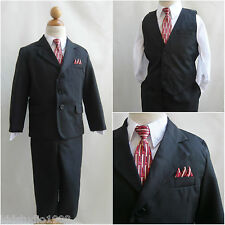 Elegant LTO Black pinstripe/red tie wedding party toddler youth boy formal suit