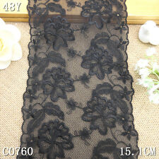 1.5Y/4Y Black Tulle Double Sides Embroidery Lace Fabric Trim Craft DIY L1839