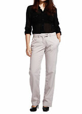 New Womens Flat Front Slacks Pants Trouser Modern Fit Khaki Waist 28 29 30 31 32