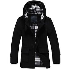 HOT Mens warm wool long hooded jacket hoody trench coat parkas overcoat Fashion