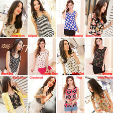 Korean Cute Womens Sleeveless Chiffon Printed Blouse Vest Tank Tops Shirts