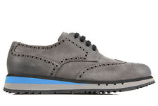PRADA MEN'S CLASSIC LEATHER LACE UP LACED FORMAL SHOES NEW DERBY GREY  F9F