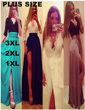 Womens Lace Dress Formal Party Long Prom Gown Side Slit Evening Wedding Dress