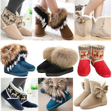 Womens Winter Warm Fur Snow Boots Ankle Suede Bowknot Midcalf Flat Shoes Casual