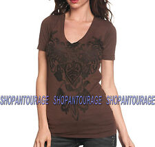 SINFUL Serena S2212 Women`s New Brown Burnout V-neck T-Shirt By Affliction